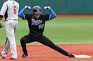 21 February 2015: Duke's Evan Dougherty (27) celebrates hitting a run scoring double. The Duke University Blue Devils hosted the University of Hartford Hawks in an NCAA Division I Men's baseball game at Jack Coombs Field in Durham, North Carolina. Duke won the game 5-1.