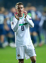 Northern Ireland's Steven Davis applauds the fans at the end of the Nations League match at The Grbavica Stadium, Sarajevo.