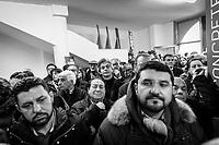 VALLO DELLA LUCANIA (SA) - 4 FEBBRAIO 2018: Sostenitori di Franco Alfieri (Partito Democratico), candidato alla Camera dei Deputati nel collegio uninominale di Agropoli (Campania), ex sindaco di Agropoli e capo della segreteria politica del governatore della Regione Campania Vincenzo De Luca, si radunano per l'inaugurazione del suo comitto elettorle in  a Vallo della Lucania (SA) il 4 febbraio 2018.<br /> <br /> Le elezioni politiche italiane del 2018 per il rinnovo dei due rami del Parlamento – il Senato della Repubblica e la Camera dei deputati – si terranno domenica 4 marzo 2018. Si voterà per l'elezione dei 630 deputati e dei 315 senatori elettivi della XVIII legislatura. Il voto sarà regolamentato dalla legge elettorale italiana del 2017, soprannominata Rosatellum bis, che troverà la sua prima applicazione<br /> <br /> ###<br /> <br /> VALLO DELLA LUCANIA, ITALY - 4 FEBRUARY 2018: Supporters of Franco Alfieri (Democratic Party / Partito Democratico), former mayor of Agropoli chief of staff of the governor of the Campania region Vincenzo De Luca, gather for the inauguration of his electoral committee in Vallo della Lucania, Italy, on February 4th 2018.<br /> <br /> The 2018 Italian general election is due to be held on 4 March 2018 after the Italian Parliament was dissolved by President Sergio Mattarella on 28 December 2017.<br /> Voters will elect the 630 members of the Chamber of Deputies and the 315 elective members of the Senate of the Republic for the 18th legislature of the Republic of Italy, since 1948.