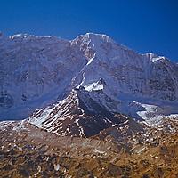 Baruntse Peak rises above the Imja Glacier in the Khumbu region of Nepal, as viewed from Island Peak