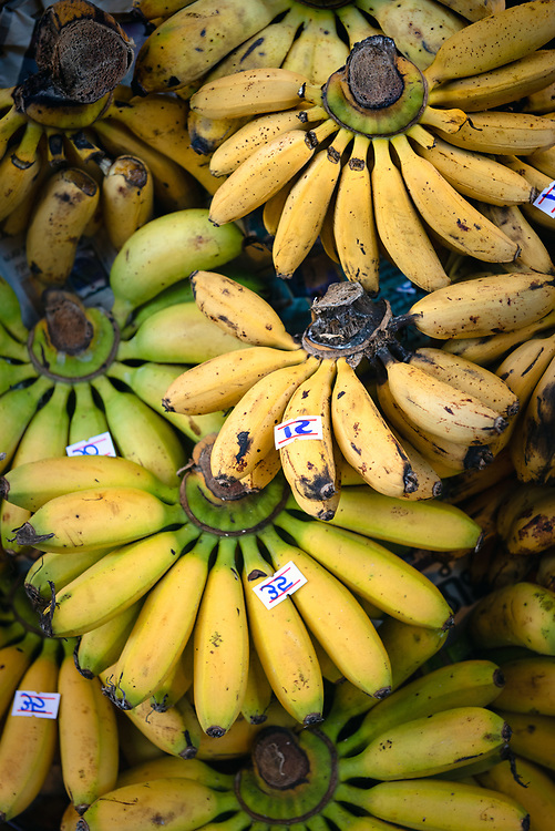 Bunches of bananas at a local market in Chiang Mai