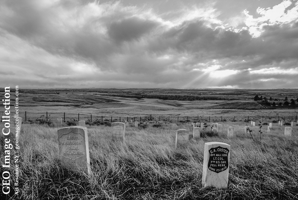 Headstones of Lt. Col. George Armstrong Custer and his men, who fought and died at the hands of Sioux and Cheyenne Indians in 1876, are seen at twilight in th e Custer Battlefield National Cemetery in Montana.