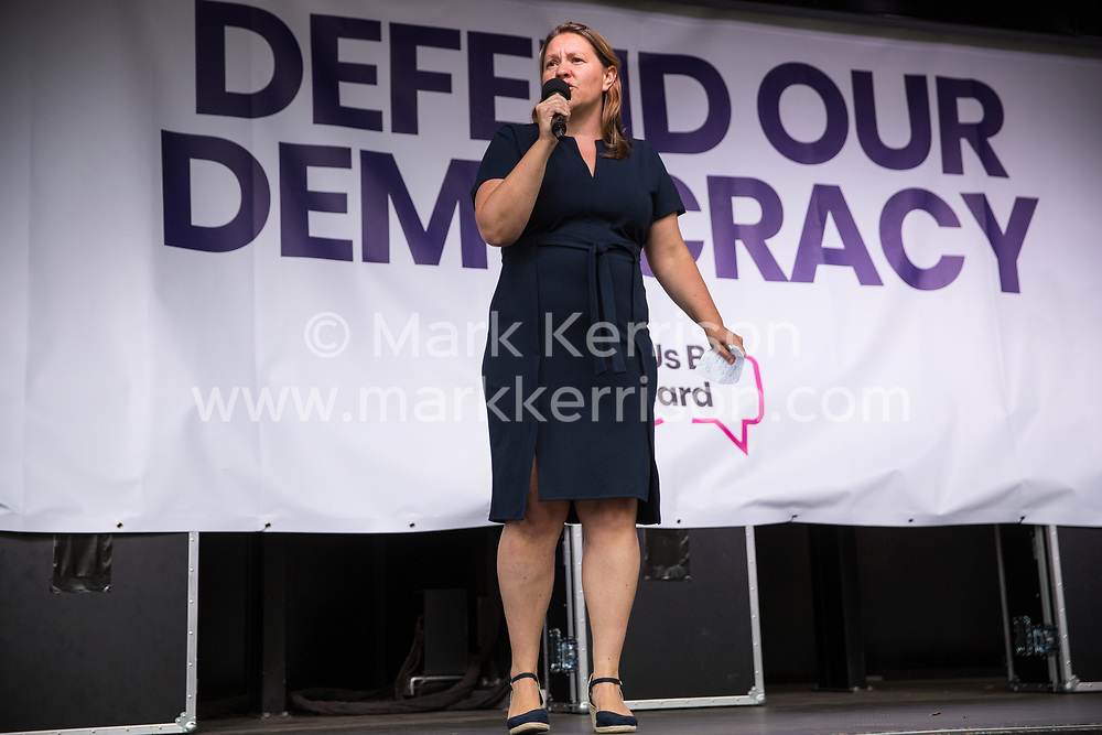 London, UK. 4 September, 2019. Anna Turley, Labour and Co-operative MP for Redcar, addresses Remain supporters at a Defend Our Democracy rally in Parliament Square shortly after MPs passed the Brexit delay bill in the House of Commons.