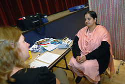 Members of the public attend a free health check to screen for diabetes, Keighley, West Yorkshire UK.,Health workers in Airedale are starting a new screening programme to alert members of the South Asian community to the risk of diabetes.