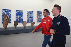 February 23, 2019 - Abu Dhabi, United Arab Emirates - (Left-Right) Vincenzo Nibali of Italy and Elia Viviani of Italy and Team Deceuninck-QuickStep, inside the Louvre Abu Dhabi Museum..On Saturday, February 23, 2019, Abu Dhabi, United Arab Emirates. (Credit Image: © Artur Widak/NurPhoto via ZUMA Press)