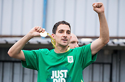 Branko Ilic of NK Olimpija celebrates with a medal after they became Slovenian National Champion 2018 after the football match between NK Domzale and NK Olimpija Ljubljana in 36th Round of Prva liga Telekom Slovenije 2017/18, on May 27, 2018 in Sports park Domzale, Domzale, Slovenia. Photo by Vid Ponikvar / Sportida