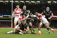 Jamie Roberts  of Wales © scores his teams 2nd try.  Under Armour 2016 series international rugby, Wales v Japan at the Principality Stadium in Cardiff , South Wales on Saturday 19th November 2016. pic by Andrew Orchard, Andrew Orchard sports photography