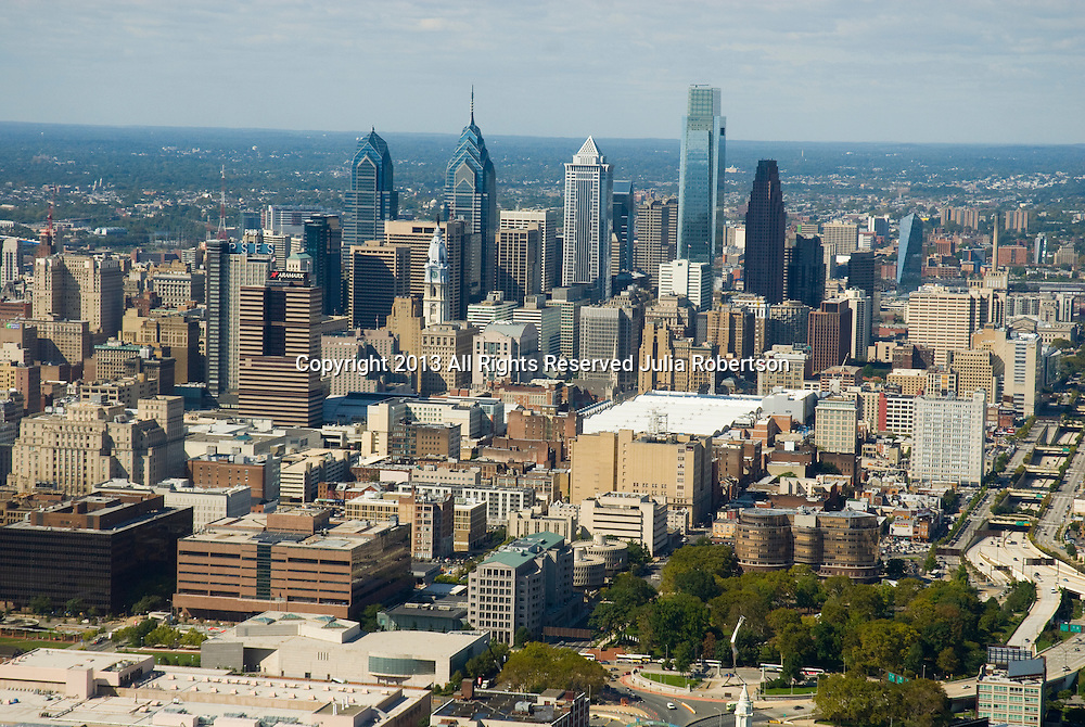 Aerial view of Philadelphia Skyline with old City, City Hall, Comcast, Liberty Place