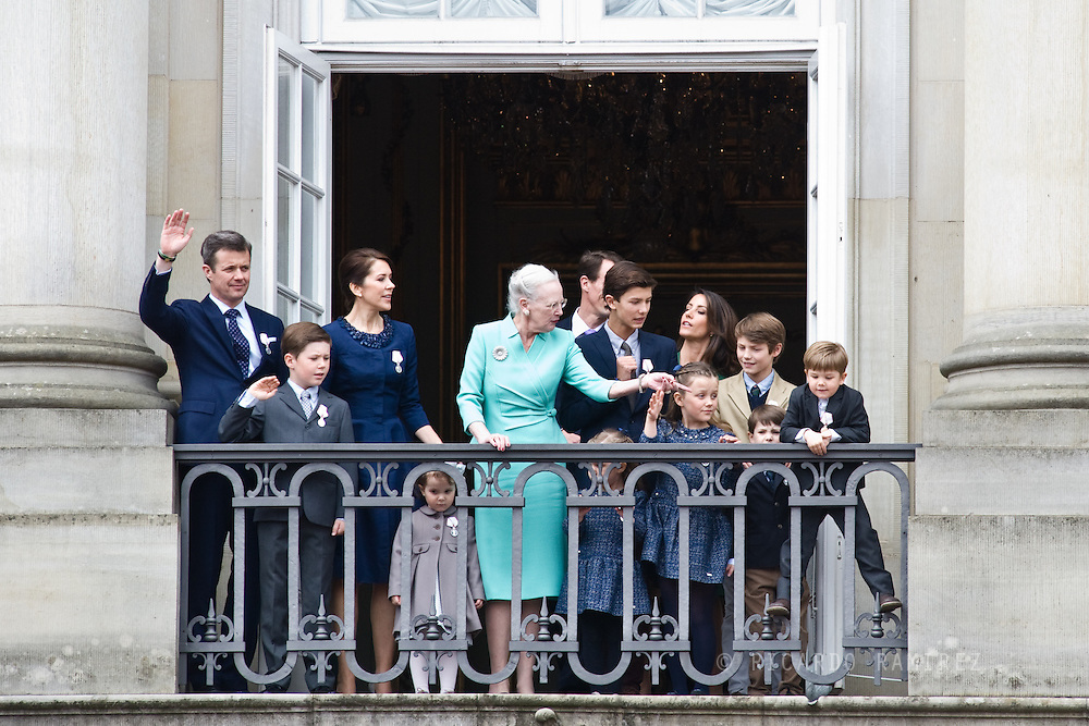 16.04.2015. Copenhagen, Denmark.<br /> Queen Margrethe II celebrates her 75th birthday with her whole family, From left to right Frederik, Crown Prince of Denmark, Princess Isabella of Denmark, Mary, Crown Princess of Denmark, Prince Vincent of Denmark, Prince Christian of Denmark, Prince Nikolai of Denmark, Prince Felix of Denmark, Prince Henrik of Denmark, Princess Athena of Denmark held by her father Prince Joachim of Denmark and Princess Josephine of Denmark wave on the balcony of Amalienborg Palace.<br /> Photo:© Ricardo Ramirez
