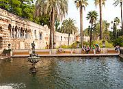 Estanque del Mercurio, in the gardens of the Alcazar palaces, Seville, Spain