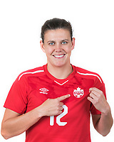 Christine Sinclair, team captain of the Canadian Women's National Team and the all-time International goal scoring record holder poses for a portrait on August 27, 2018<br /> <br /> Photo: Steve Kingsman for Canada Soccer