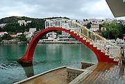 Slide on concrete promenade by the sea. Lapad, Dubrovnik, Croatia