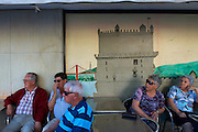 Residents and mural, Lisbon, Portugal
