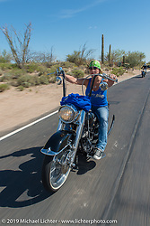 Sara Shope on Diva Amy's Helping with Horsepower Ride on Wednesday of Arizona Bike Week 2014. USA. April 3, 2014.  Photography ©2014 Michael Lichter.