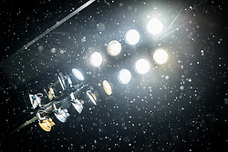 snow, lights, lamps, light, lighting armature during the Dutch Eredivisie match between FC Twente Enschede and Ajax Amsterdam at the Grolsch Veste on December 02, 2017 in Enschede, The Netherlands