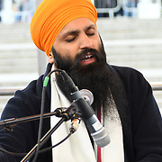 London, England, UK. 27 April 2019. Bhai Sukhjinder Singh Jatha preforms at Vaisakhi Festival is a Sikh New Year in Trafalgar Square, London, UK.