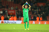 Football - 2019 / 2020 Premier League - Southampton vs. Crystal Palace<br /> <br /> Vicente Guaita of Crystal Palace applauds the traveling Palace fans after the final whistle after a fine performance at St Mary's Stadium Southampton<br /> <br /> COLORSPORT/SHAUN BOGGUST