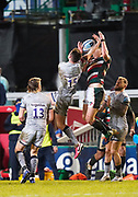 Leicester Tigers full-back Freddie Steward competes for a high ball with Sale Sharks full back Luke James during a Gallagher Premiership Round 7 Rugby Union match, Friday, Jan. 29, 2021, in Leicester, United Kingdom. (Steve Flynn/Image of Sport)