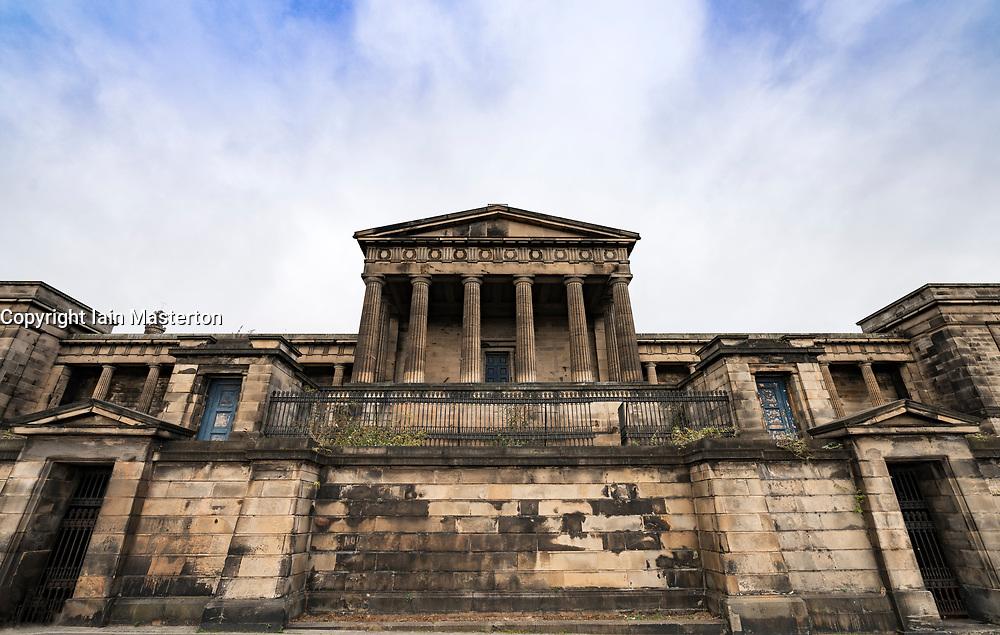 Exterior view of former Old Royal High School on Calton Hill in Edinburgh, Scotland, UK.