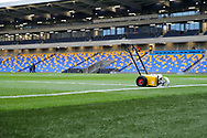 Machine that paints the lines in front of the main stand at Plough Lane during the EFL Sky Bet League 1 match between AFC Wimbledon and Sunderland at Plough Lane, London, United Kingdom on 16 January 2021.