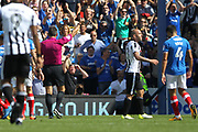 RED CARD - Keith Keane sent off for a professional foul during the EFL Sky Bet League 1 match between Portsmouth and Rochdale at Fratton Park, Portsmouth, England on 5 August 2017. Photo by Daniel Youngs.
