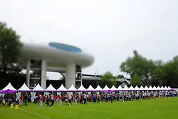 GV of the field of play (taken with a tilt shift effect) during the ranking round of the Women's Individual Archery held at Lords Cricket ground in London as part of the London 2012 Olympics on the 27st July 2012.Photo by Ron Gaunt/SPORTZPICS