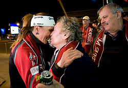 Slovenian athlete Petra Majdic celebrates when she arrived home with cristal globus at the end of the nordic season 2008/2009, on March 23, 2009, at airport Jozeta Pucnika, Brnik, Slovenia. (Photo by Vid Ponikvar / Sportida)