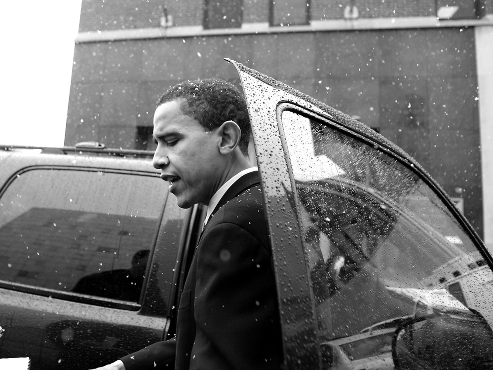 Illinois' democratic nominee for the U.S. Senate Barack Obama, leaves after speaking at a unity breakfast for democrats at the IBEW Local 134 in Chicago.