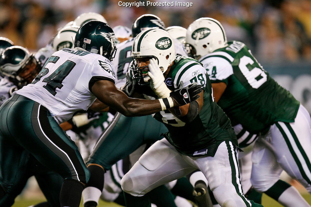28 August 2008: New York Jets offensive lineman Wayne Hunter #78 prepare to stop Philadelphia Eagles linebacker Justin Roland #54 during the game against the Philadelphia Eagles on August 28, 2008. The Jets beat the Eagles 27 to 20 at Lincoln Financial Field in Phialdelphia, Pennsylvania.
