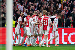 08-05-2019 NED: Semi Final Champions League AFC Ajax - Tottenham Hotspur, Amsterdam<br /> After a dramatic ending, Ajax has not been able to reach the final of the Champions League. In the final second Tottenham Hotspur scored 3-2 / Matthijs de Ligt #4 of Ajax scores the 1-0, celebrate Daley Blind #17 of Ajax, Kasper Dolberg #25 of Ajax, Frenkie de Jong #21 of Ajax, Hakim Ziyech #22 of Ajax, Lasse Schone #20 of Ajax