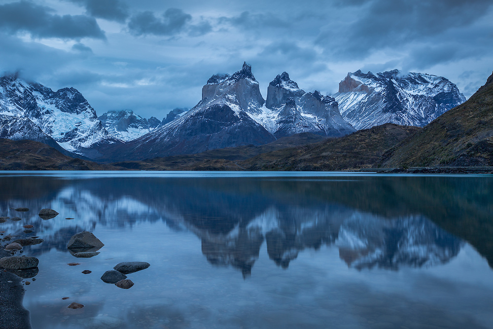 Night reflections cast a silent spell over Lake Pehoé, Chilean Patagonia.
