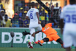 22042018 (Durban) Sundwns player Wayne Arendse fighting for a ball during Maritzburg United FC make their way to the final of the Nedbank Cup after walloping 3-1 when playing against Mamelodi Sundowns FC at the Harry Gwala Stadium in Pietermaritzburg, KZN yesterday.<br /> Picture: Motshwari Mofokeng/ANA