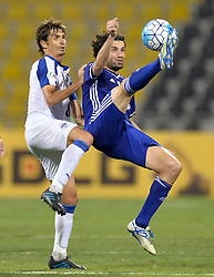 Osama Ali of IraqÃ•s Air Force Club vies for the ball with Alvaro Rubio of India's JSW Bengaluru FC during their Asian Football Confederation (AFC) Cup final soccer match at the Suheim bin Hamad Stadium in Doha,Qatar on November 5, 2016.Air Force Club won 1-0 and claimed the title of the event. (Credit Image: © Nikku/Xinhua via ZUMA Wire)