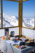 A food stall at the Grand Chimgan, peaking at 3309m, in Chimgan ski resort on 28th February 2014 in Uzbekistan. Chimgan is 90kms east of the capital Tashkent, and a popular weekend destination year round.