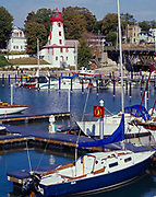 Historic Kincardine Lighthouse, built in 1880-81, overlooking Kincardine Harbour on Lake Huron, Kincardine, Ontario, Canada.