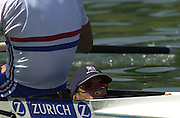 Lucerne, SWITZERLAND, Sat - Finals day , GBR M2+ Matt Pinsent and James Cracknell cox Neil Chugani., during the 2001World Rowing Championships,  [Credit, Peter Spurrier/Intersport-images] 20010819 FISA World Rowing Championships, Lucerne, SWITZERLAND