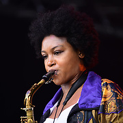 Indignados, MOBO-nominated saxophonist, Camilla George performs at the EFG London Jazz Festival SummerStage at the LONDON Royal Albert Dock, 0n 31 August 2019, London, UK.