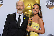 """88th Academy Awards press room.<br /> Actress in a supporting role winner Alicia Vikander for the film """"The Danish Girl."""""""