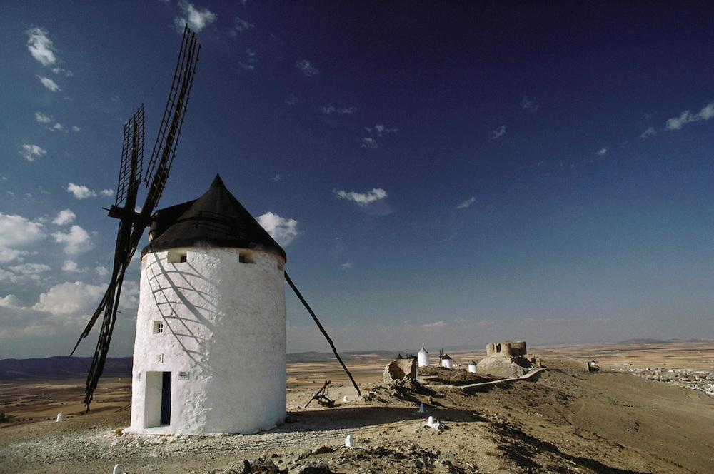Whitewashed windmills at Consuegra, La Mancha, Spain.