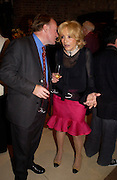 Andrew Roberts and Lady Wyatt. Book party for LAST VOYAGE OF THE VALENTINA by Santa Montefiore (Hodder & Stoughton) Asprey,  New Bond St. 12 April 2005. ONE TIME USE ONLY - DO NOT ARCHIVE  © Copyright Photograph by Dafydd Jones 66 Stockwell Park Rd. London SW9 0DA Tel 020 7733 0108 www.dafjones.com