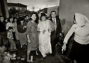 The wedding party of Liliana and Albert Palushi. Walking through the muddy streets of Shkodra