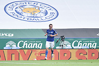 LEICESTER, ENGLAND - JULY 04: Jamie Vardy of Leicester City celebrates after scoring his sides second goal and his sides third during the Premier League match between Leicester City and Crystal Palace at The King Power Stadium on July 4, 2020 in Leicester, United Kingdom. Football Stadiums around Europe remain empty due to the Coronavirus Pandemic as Government social distancing laws prohibit fans inside venues resulting in all fixtures being played behind closed doors. (Photo by MB Media)