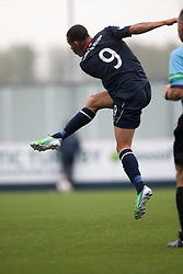Falkirk's Phil Roberts scoring their goal.<br /> Half time : Falkirk 1 v 2 Dumbarton, Scottish Championship game played today at the Falkirk Stadium.<br /> ©Michael Schofield.