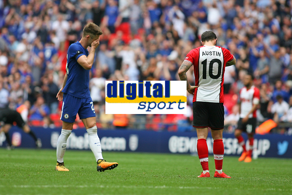 Football - 2017 / 2018 FA Cup - Semi Final: Chelsea vs. Southampton<br /> <br /> Southampton's Charlie Austin looks dejected as Gary Cahill of Chelsea looks emotional at Wembley Stadium <br /> <br /> COLORSPORT/SHAUN BOGGUST