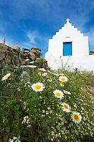 Grèce, Les Cyclades, Ile de Mykonos, église à l'interieur de l'ile // Greece, Cyclades, Mykonos island, church inside the island
