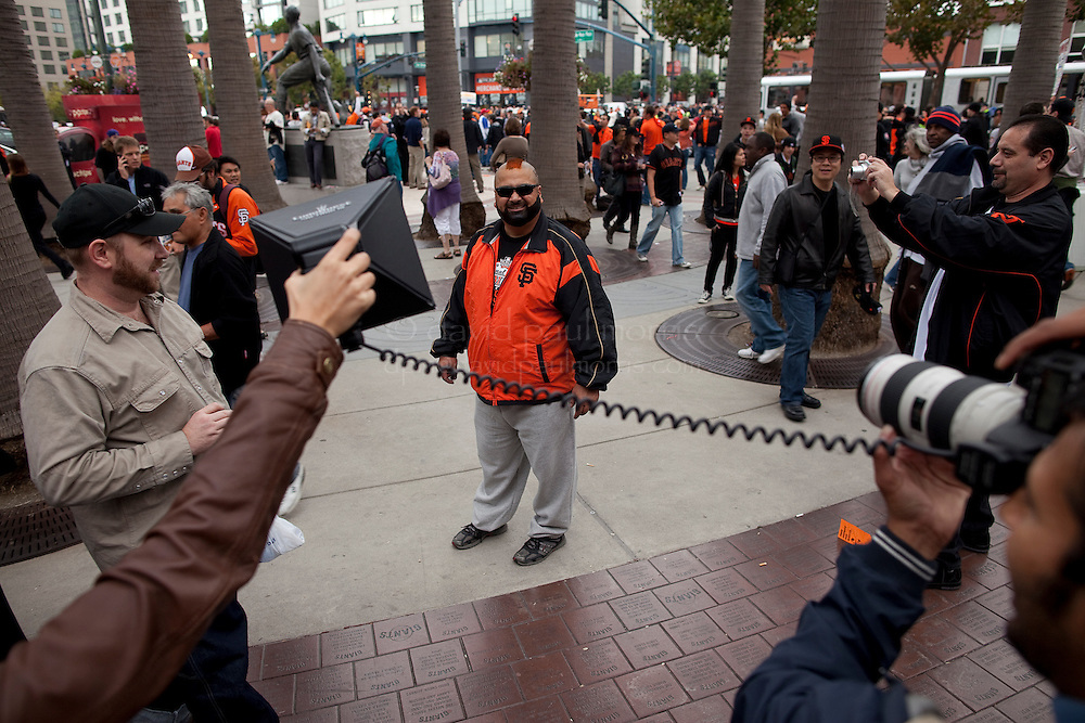 SAN FRANCISCO, CA - OCT 27:  John Vasquez of Watsonville, California shows his support of the Giants outside AT&T Park as the San Francisco Giants and the Texas Rangers start game 1 of the 2010 World Series on October 27, 2010 in San Francisco, California.  Photography by David Paul Morris