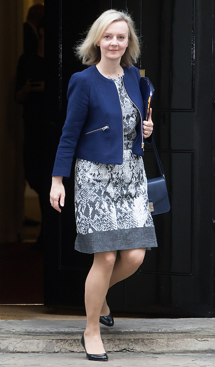 Downing Street, London, October 25th 2016. Justice Secretary and Lord Chancellor Liz Truss leaves10 Downing Street following the weekly cabinet meeting and the announcement that the construction of a third runway at Heathrow Airport has initial government approval.