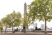 Cleopatra's Needle, made in Egypt for the Pharaoh Thotmes III in 1460 BC and brought to London from Alexandria the royal city of Cleopatra in 1878 photographed on the empty Embankment during the coronavirus pandemic on the 10th May 2020 in London, United Kingdom. Britain wanted something big and noticeable to commemorate the British victory in Egypt over Napoleon, sixty-three years earlier.
