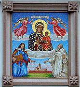 Mozaika, zdobienie południowej ściany Pokoi Królewskich klasztoru w Częstochowie <br /> Mosaic of Virgin of Jasna Góra, Czestochowa, Poland