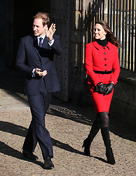 Prince William and Kate Middleton during a visit to the St Andrews  university